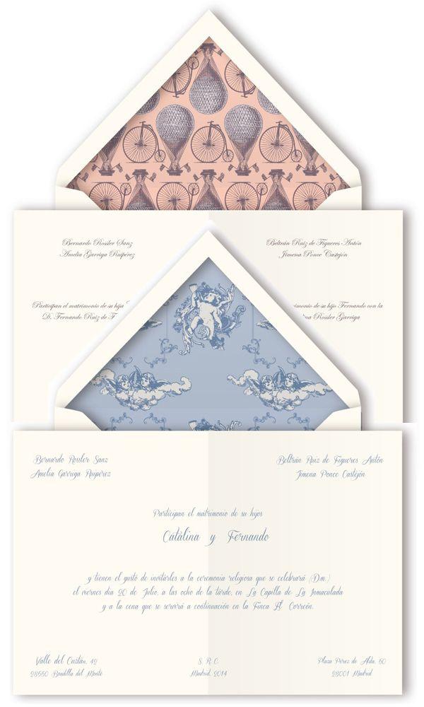 Dos modelos de invitaciones de bodas con sobre con forro interior en diseño vintage de Querida Valentina #weddinginvitations #stationery #spain