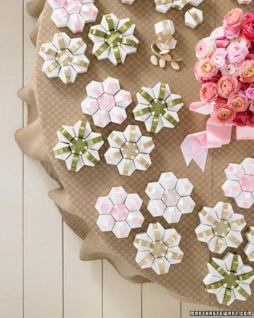hexagonal favor boxes + satin ribbon = perfect wedding/party favors / martha stewart