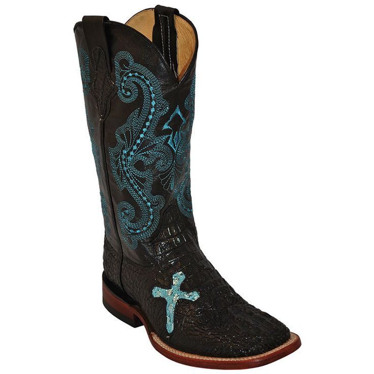 Women's Ferrini Black Caiman Print With Cross Cowgirl Boots