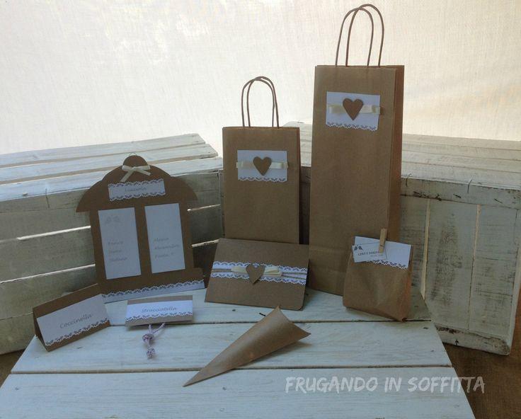 bag matrimonio in carta craft stile shabby