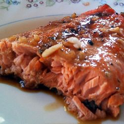 Maple Salmon.  (One of my favorite recipes of all time. Well-worth splurging on real maple syrup and wild Alaskan salmon for a special but simple meal.  Make sure not to over-marinade! -MEW)