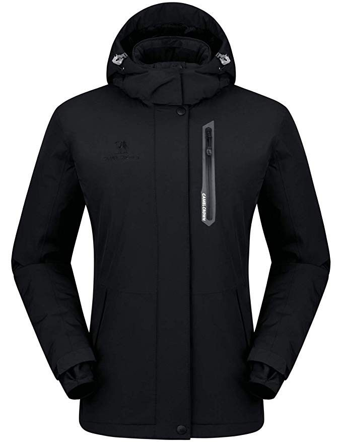 CAMEL CROWN Women s Mountain Snow Waterproof Ski Jacket Detachable Hood  Windproof Fleece Parka Rain Jackt Winter Coat d4ee9b8d7