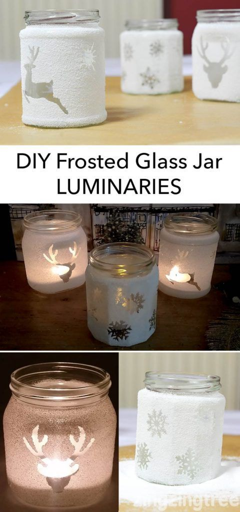 These beautiful DIY Frosted Glass Jar Luminaries look great during at night and during the day