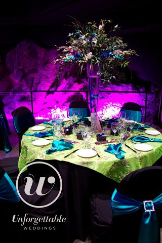 Unforgettable Weddings Sudbury Ontario Wedding Decor, Party Decor, Special Event Decor Cavern Science North #weddingdecor #wedding #decor #colour #peacock