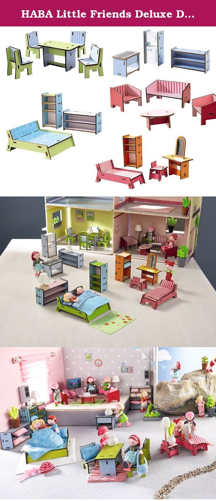 """HABA Little Friends Deluxe Dollhouse Furniture Set with 5 Rooms (19 Pieces) for Villa Sunshine. Furnish the entire Villa Sunshine with this complete set! Featuring a dining room table and 4 chairs, stove, freezer/fridge combo and shelf, 3-piece living room set including couch with coffee table, double bed with two shelving units, single bed with tall shelf and vanity table with mirror and chair. Made of sturdy plywood. Stove height: 2"""", dining room table height: 2.75""""."""