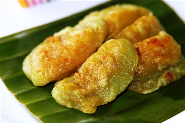 Kipo is a traditional food from Kotagede, Yogyakarta. It is made of glutinous rice flour  and is filled with enten-enten (filling made of mixture of grated coconut and palm sugar palm)
