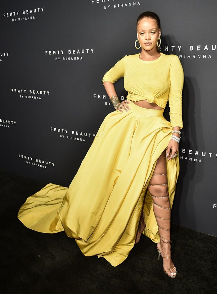 Slay! Rihanna made sure all eyes were on her at the launch party for Fenty Beauty by Rihanna in NYC on Thursday. Not only was her makeup on fleek (of course!), but her outfit — from the crop top to those sandals, which snaked all the way up her thigh — was killer. (Photo: Steven Ferdman/Patrick McMullan via Getty Images)