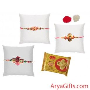 Send the best rakhi wishes to your dearest brother and show how much you will miss them on this Raksha Bandhan. Set of 3 Beautiful Zari Rakhi with Soan Cake(Sadha) 400 gm .Rakhi design may differ as per the stock available. We offer free pack of Roli & Chawal along with Rakhis.