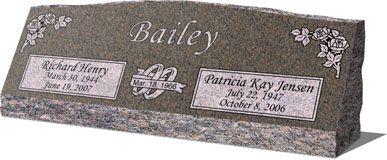 "Double Headstones for Graves   66""x16""x6"" Gray Granite Base"
