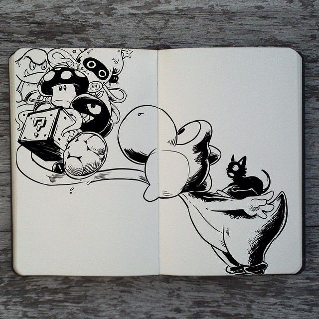 Super Mario World was the very first game I have ever played. Here's a tribute :3 #355 Yoshi  #art #drawing #illustration #design #supermarioworld #mario #yoshi #cute #game #gaming #fanart #moleskine #ink #brazil #artist