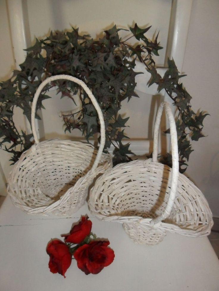 2 Stück Blumenkörbchen Streukörbchen Hochzeit Blumenkinder naturweiß Kinderkorb