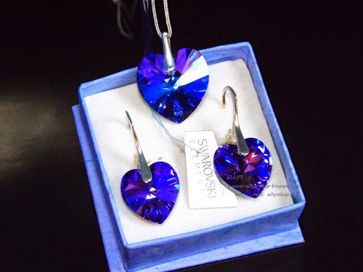 Ellys Shop: Set inimioare swarovski si argint
