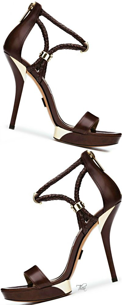 Michael Kors ~ Brown Leather Sandal Heels w Braided Ankle Strap Detail 2015