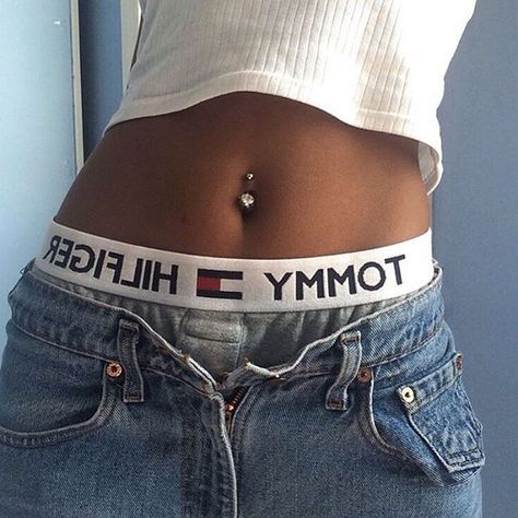 Belly button piercing perfection. Tommy Hilfiger