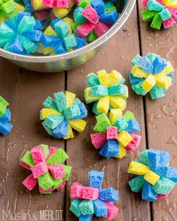 """DIY Sponge Water Bombs! Use 4"""" zip ties instead of string :-)"""