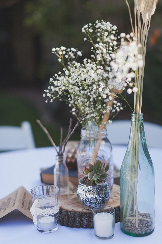 pictures of wedding centerpieces using mason jars%0A rustic centerpiece