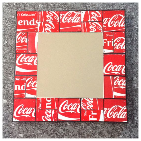 Upcycled Aluminium can Coca Cola can mirror  by MySilverPenguin