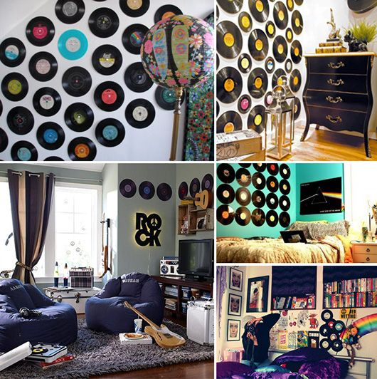 Vinyl record wall art things to diy pinterest record for Room decoration from waste material