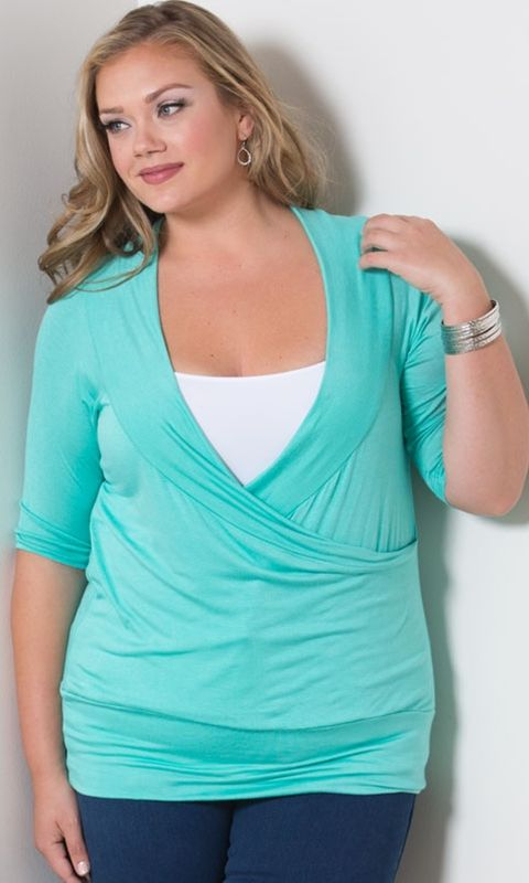 Plus Size Faye Top in Mint at Curvalicious Clothes. Beautiful model . . .