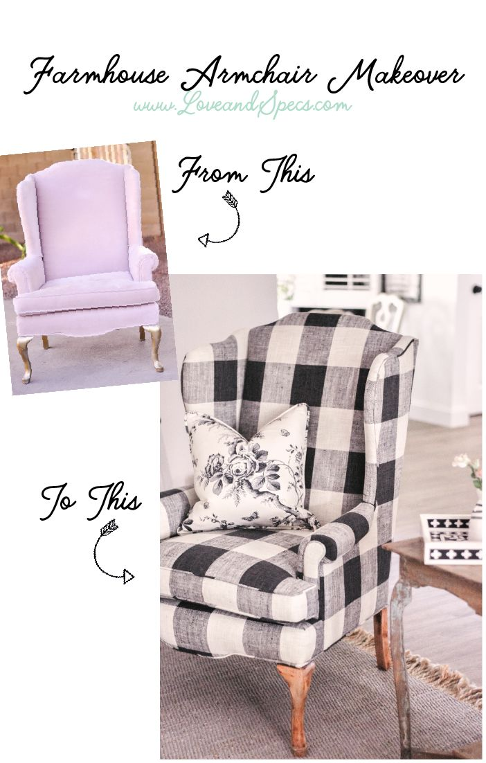 Talking about the BEST way to reupholster an old chair & showing the amazing before & after of our easy farmhouse armchair makeover!   Farmhouse Decor   Black and White Buffalo Check Chair   Black and White Scandinavian Farmhouse   Buffalo Check   Calico Corners Elwood Thunder   Ralph Lauren Ashfield Floral   Easy Reupholstery   Best Way to Reupholster a Chair   Reupholster an Armchair