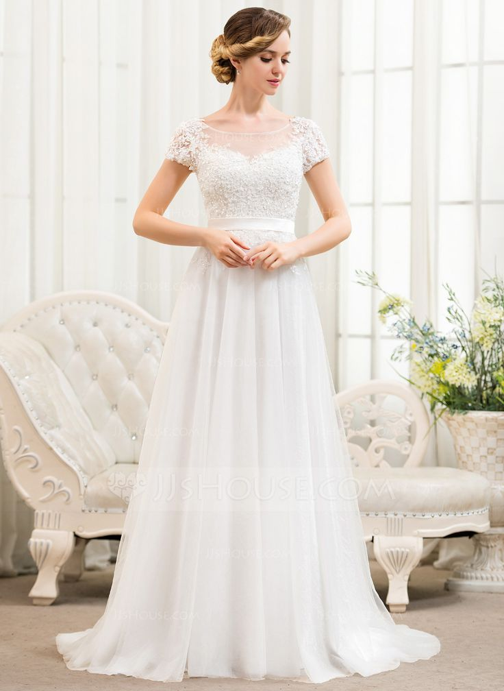 A-Linie/Princess-Linie U-Ausschnitt Sweep/Pinsel zug Tüll Spitze Brautkleid mit Perlen verziert Pailletten (002052783) - JJsHouse
