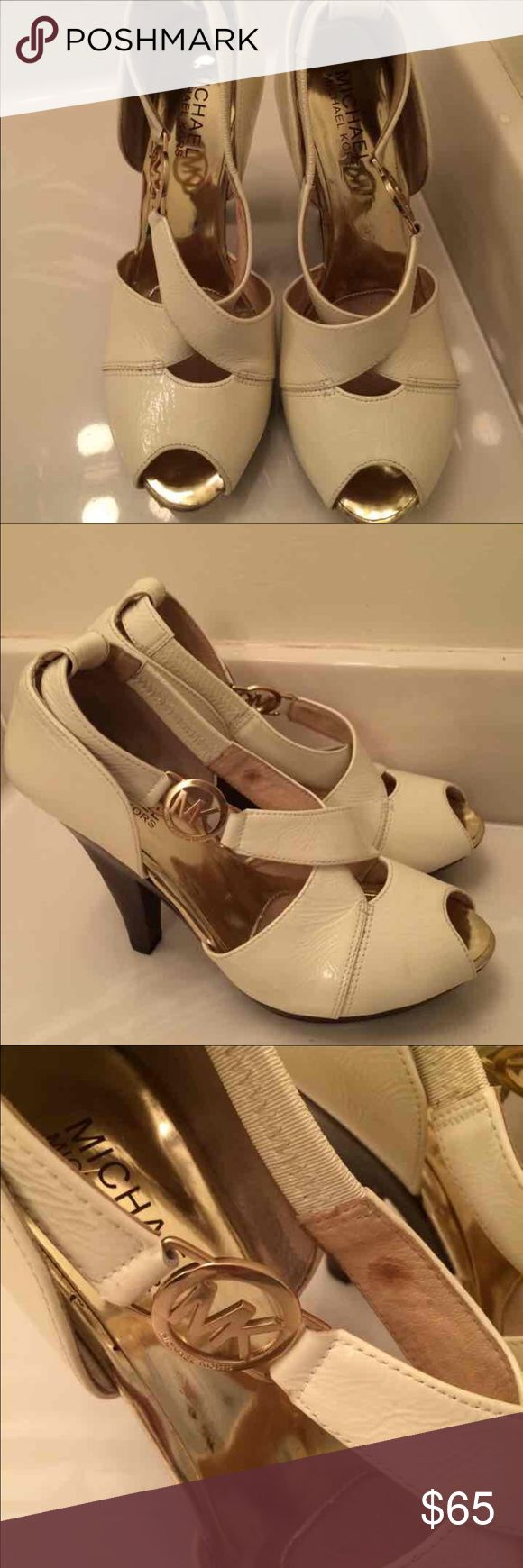 Michael Kors Authentic Cream Pumps Size 5 Michael Kors Authentic Cream Pumps Size 5 GUC some wear,  🚫Trades, paypal, any questions in the comments regarding price please use the offer button or they will be ignored🚫 Michael Kors Shoes Sandals