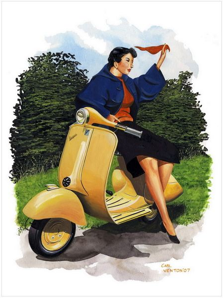 "003CV012 - Vintage Vespa 1  16"" x 12"" Print Only £12.99 9.5"" x 6.5"" Mounted to 14"" x 11"" - £12.99"