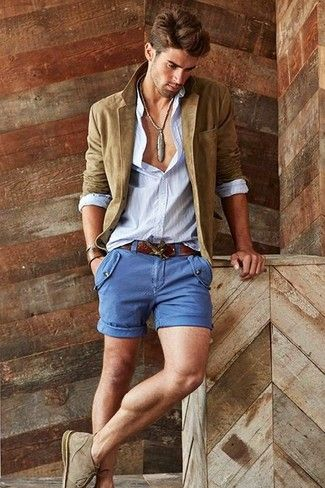Khaki suede blazer and blue shorts - perfect for smart-casual occasions #casualstyle #menfashion
