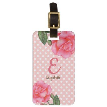 Personalised Watercolor Pink Roses Floral Monogram Luggage Tag - monogram gifts unique design style monogrammed diy cyo customize