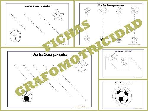Fichas sencillas con trazos básicos para trabajar la Grafomotricidad en Educación Infantil. Fichas de trazos horizontales, verticales, circulares, oblicuos,,