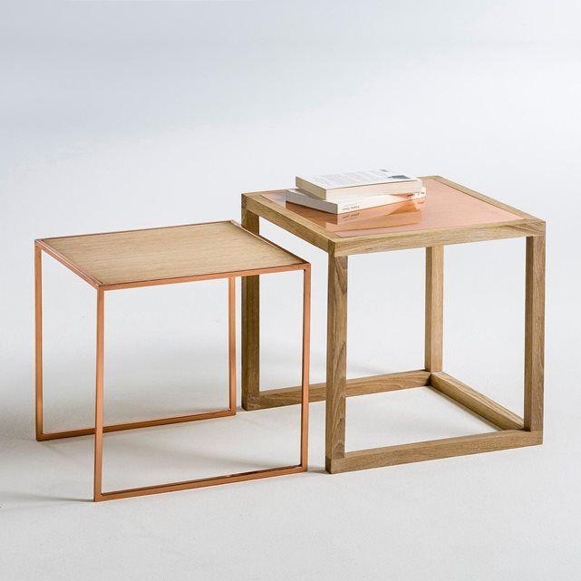 Image Tables basses gigognes chêne et cuivre, Elori, (lo La Redoute Interieurs