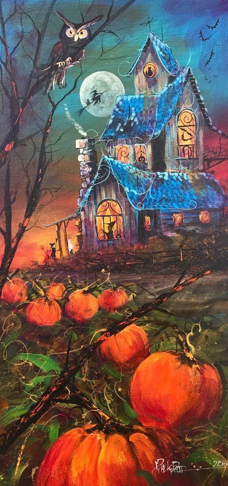 original halloween painting folk art fall witch pumpkin decor spooky modern art #Modern