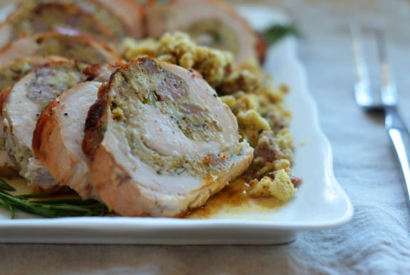 Rolled Turkey Breast with Sausage & Herb Stuffing - Once Upon a Chef