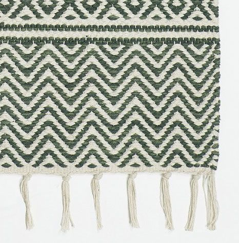 Dark green patterned cotton rag rug £49 from Skandihome. Modern rugs with fringe, woven cotton rugs and perfect additions to aspiring Scandi interiors