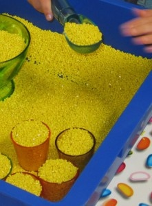 Substitute for rice in the sensory tub...