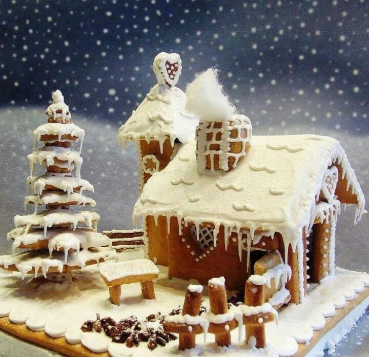 Snowy Gingerbread House.: