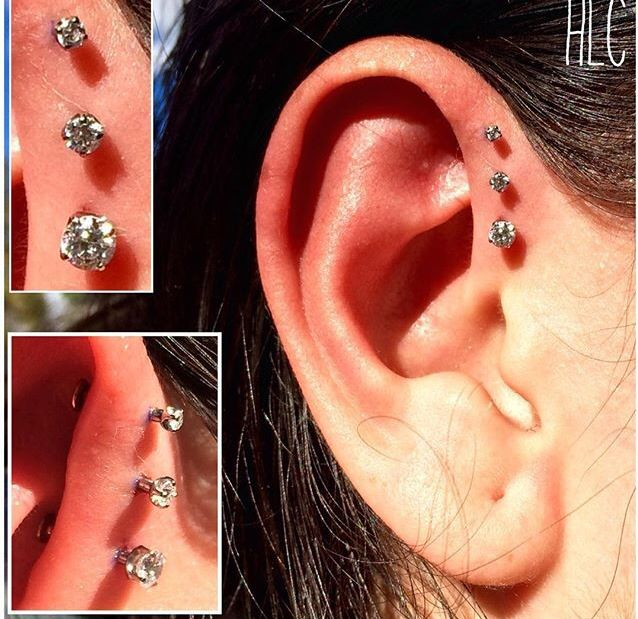 My triple forward helix piercing done with a 2mm 2.5mm and 3mm