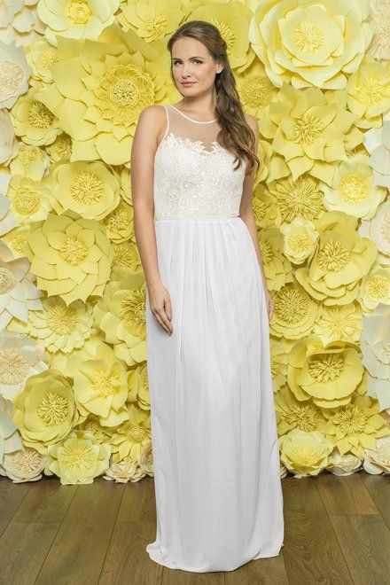 Alexia Designs style 214L: Chiffon bridesmaid dress with illusion neckline and Lace bodice. Also available in short, please see style 4214.