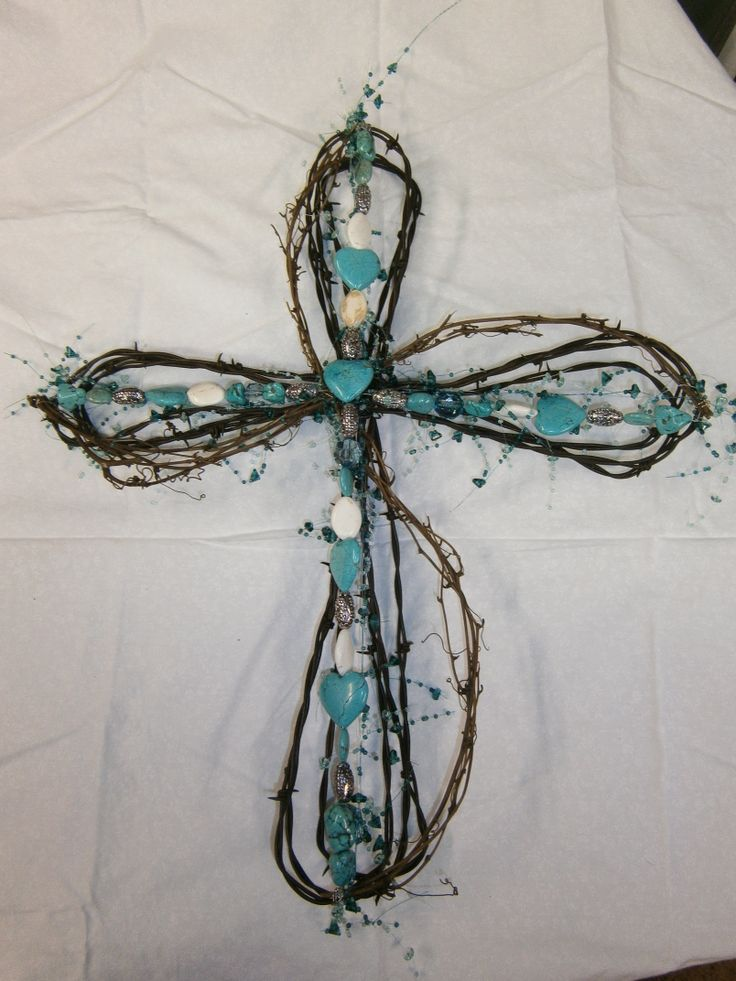 turquoise barb wire cross