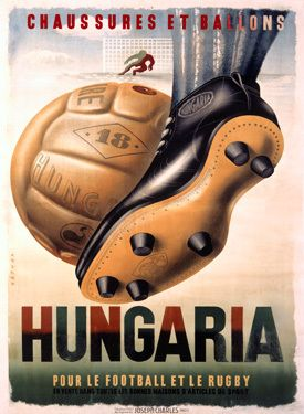 Vintage Hungaria Football Soccer Art