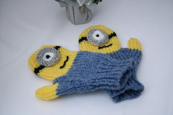 Minion style mittens toddler knitted mittens Holiday socking stuffers Despica...