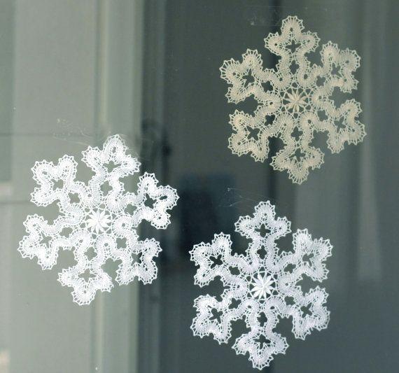 Bobbin lace snowflakes.