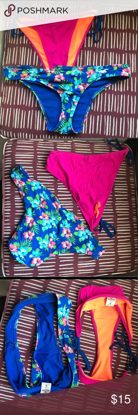 Hollister bikini bottoms 🐳🐬Top pair: size medium pink and orange bikini bottoms with blue string. Never worn. Bottom pair: size medium floral mix worn once. Both in absolute perfect condition and bought brand new. 🐳🐬 Hollister Swim Bikinis