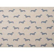Buy Emily Bond Dachshund Fabric, Blue Online at johnlewis.com
