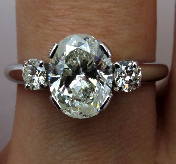 1960s...2.11ct Estate Vintage Oval Cut Trilogy Diamond Engagement Wedding Anniversary Ring in 14k White Gold, EGL USA