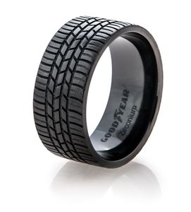 Men's Black Goodyear Integrity Tire Tread Ring
