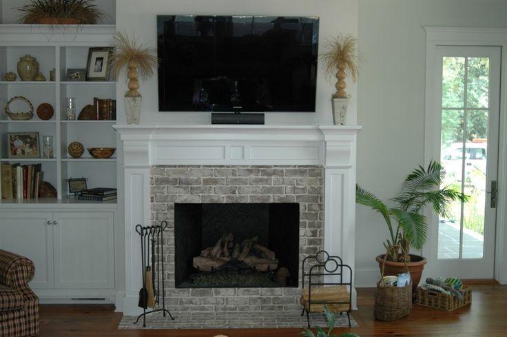 Fireplace - brick white washed