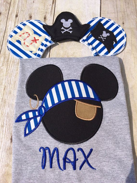 Mickey Mouse pirate with scarf and eye patch appliqued on a gray T-shirt with Matching Mouse Ear pirate Headgear. Mouse Ears have Treasure map on