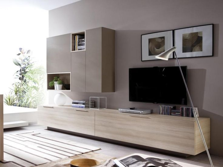 Modern Wall Storage System With Low Sideboard And Cabinet