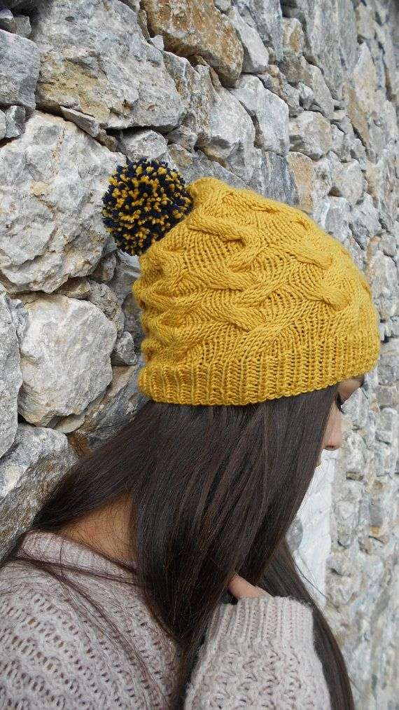Slouchy Hat  Hand Knit Beanie  with pom pom by LAlabastroCreazioni